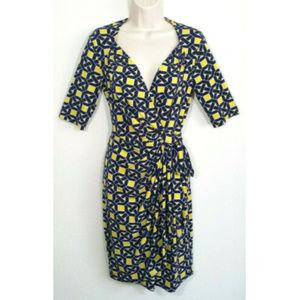 MAGGY LONDON Nautical Geometric Wrap Dress 2695E2
